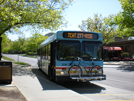 Tcat bus and bus stop