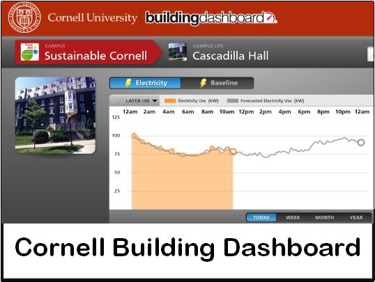 Screenshot of a page on the Building Dashboard website showing a graph of the electricity usage of Cascadilla Hall for one day