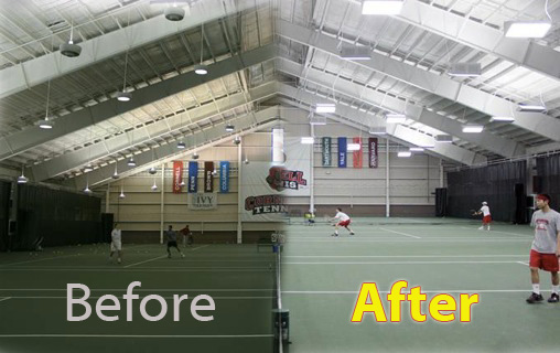 REis tennis facility before and after new lights
