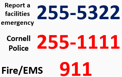 report a facilities emergency 2555322 cornell police 2551111 report fire or medical 911
