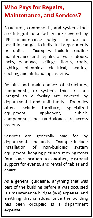 Who Pays for Repairs, Maintenance, and Services?  Structures, components, and systems that are integral to a facility are covered by IPP's maintenance budget and do not result in charges to individual departments or units.  Examples include routine maintenance and repairs of walls, doors, locks, windows, ceilings, floors, roofs, lighting, plumbing, electrical, heating, cooling, and air handling systems.  Repairs and maintenance of structures, components, or systems that are not integral to a facility are covered by departmental and unit funds.  Examples often include furniture, specialized equipment, appliances, cubicle components, and stand alone card access systems.  Services are generally paid for by departments and units.  Example include installation of non-building system equipment, hanging pictures, moving items form one location to another, custodial support for events, and rental of tables and chairs.  As a general guideline, anything that was part of the building before it was occupied is a maintenance budget (IPP) expense, and anything that is added once the building has been occupied is a department expense.