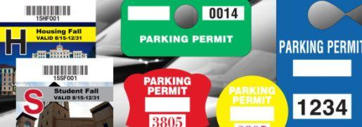 a collage image of parking hangtags and decals