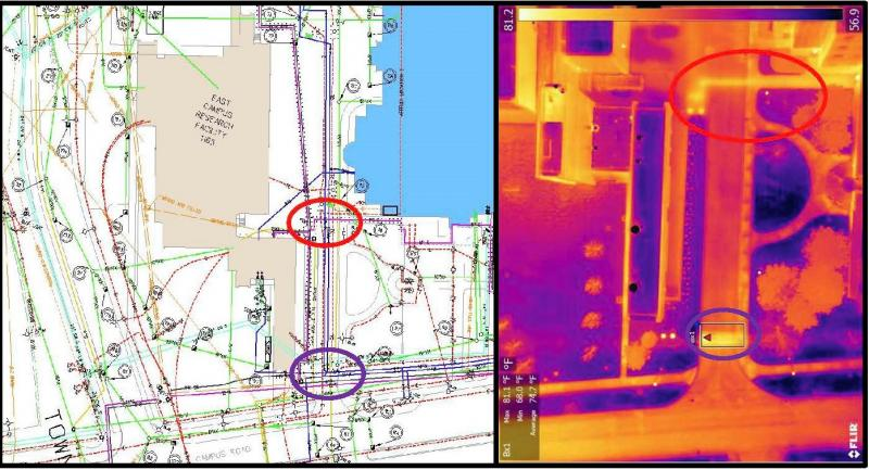 utilities map and infrared map of the vet school