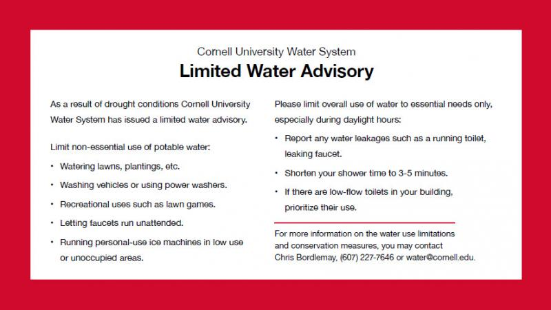Cornell Utilities Issues Water Advisory Due to Drought Conditions